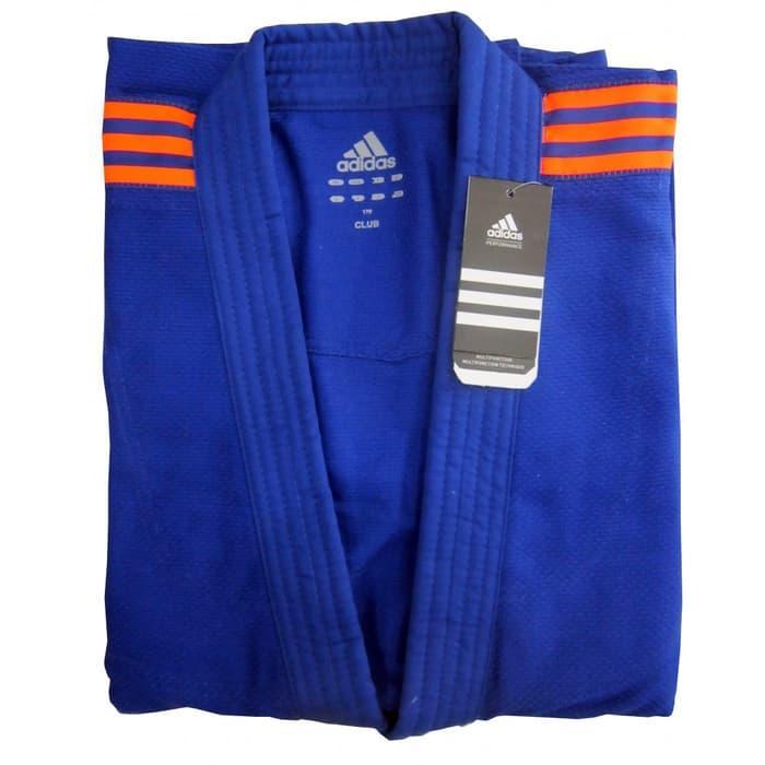 Кимоно для дзюдо Adidas Club J350 Blue оранжевые полосы р. 140