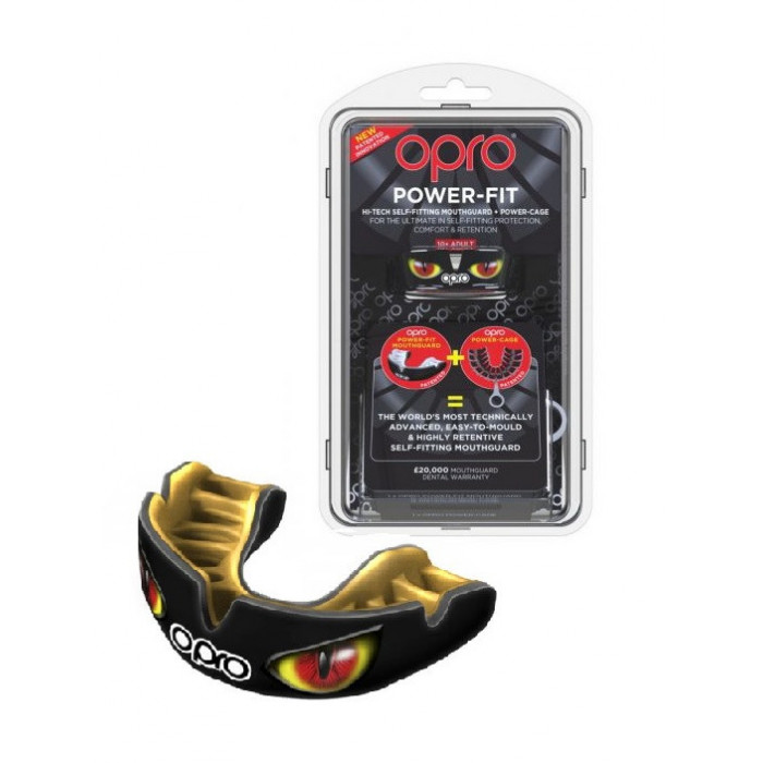 Капа Opro Power-Fit Hi-Tech Self-Fitting Aggression-Eyes (002270003) Black/Gold