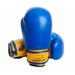 Боксерские перчатки PowerPlay (3004) Blue/Yellow детские 6 oz