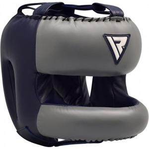 Боксерский шлем тренировочный RDX Leather Dark Blue с бампером р. L