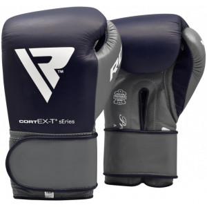 Боксерские перчатки RDX Leather Pro C4 Dark Blue 14 oz