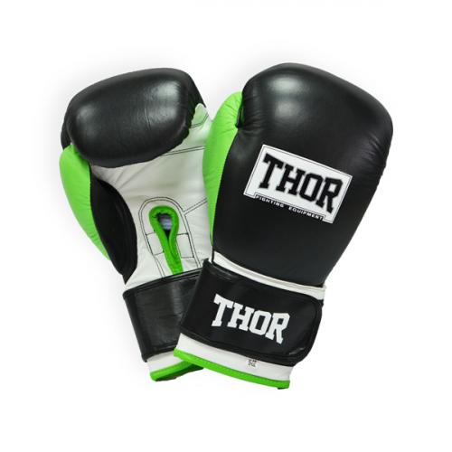 Боксерские перчатки Thor Typhoon Leather (8027/01) Black/White/Green 10 oz