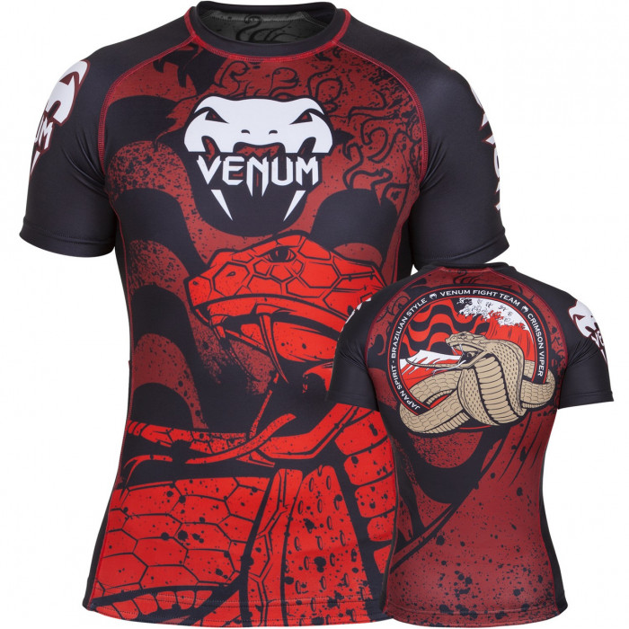 Рашгард Venum Crimson Viper Rashguard Short Sleeves (V-022) Black Red р. M