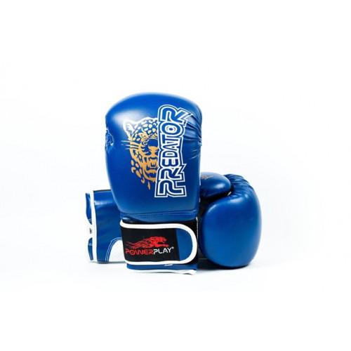 Боксерские перчатки PowerPlay Leopard - Predator series (3009) Blue 12 oz