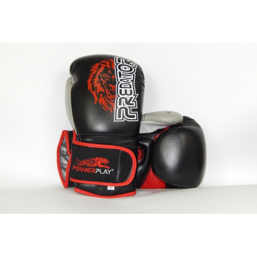 Боксерские перчатки PowerPlay Lion - Predator series (3006) Black 14 oz