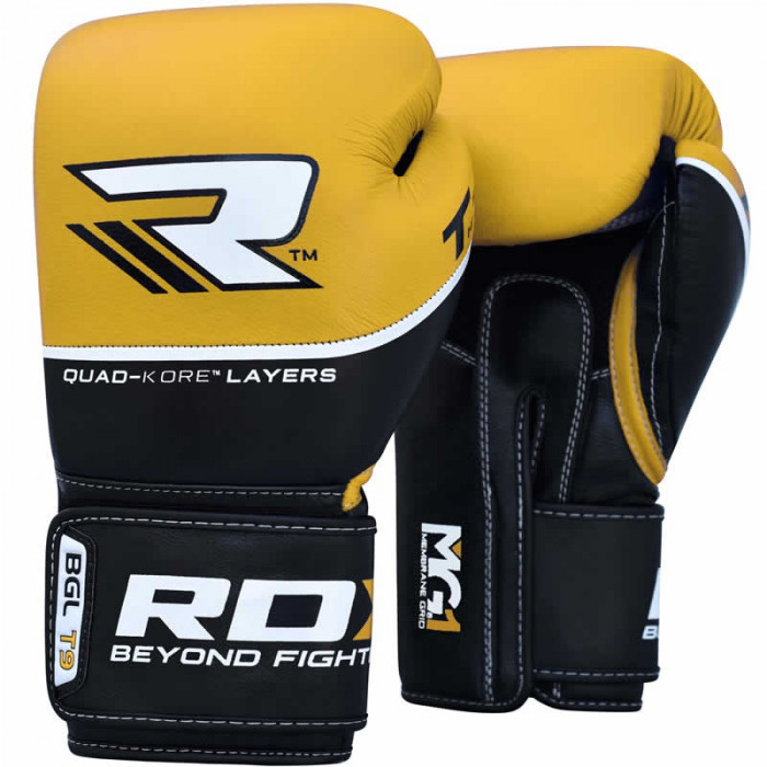 Боксерские перчатки RDX Quad Kore Yellow 14 oz